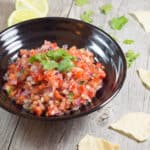 Homemade Salsa in a bowl with cilantro