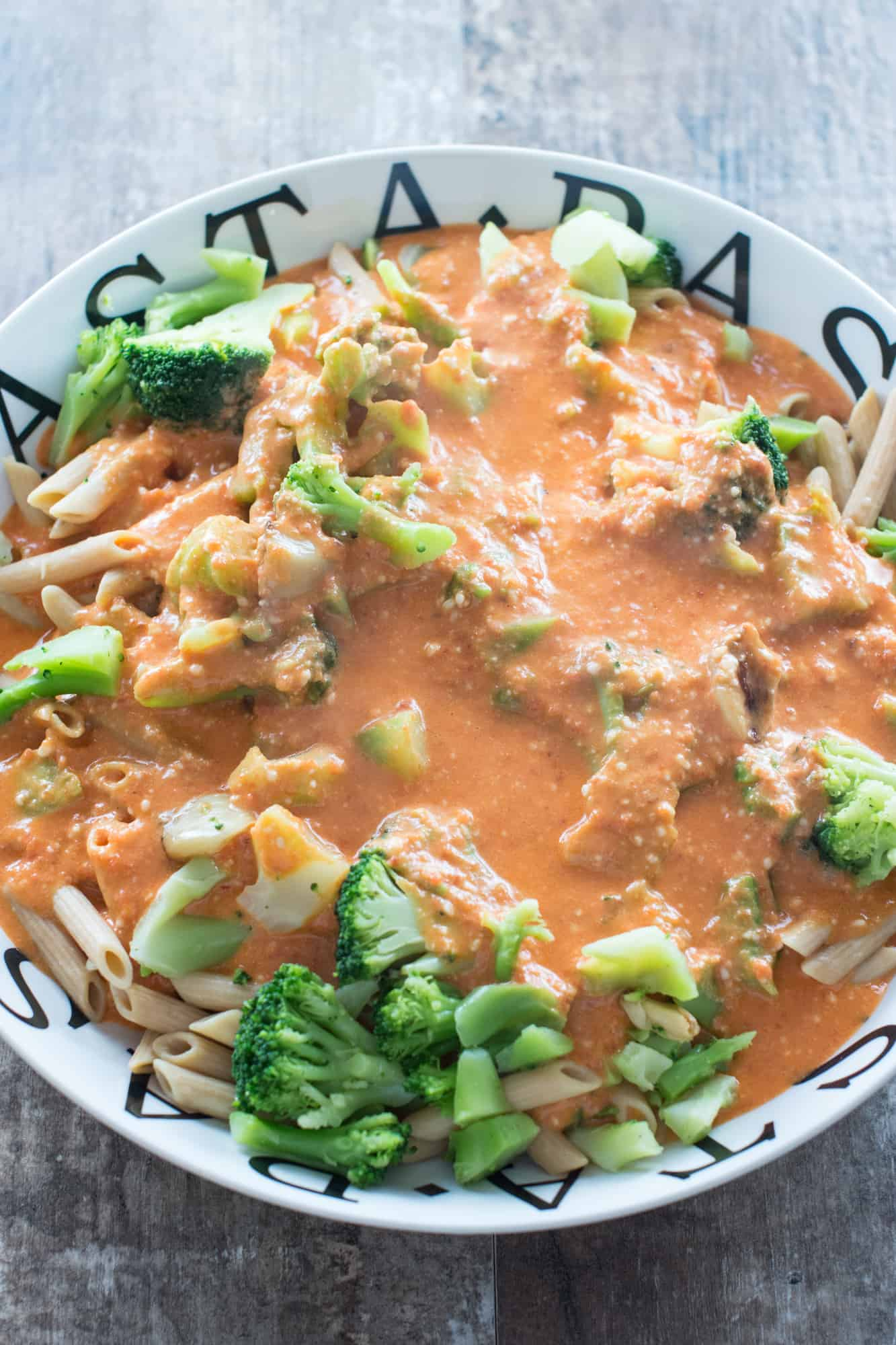 sauce added to the pasta with garlic and broccoli