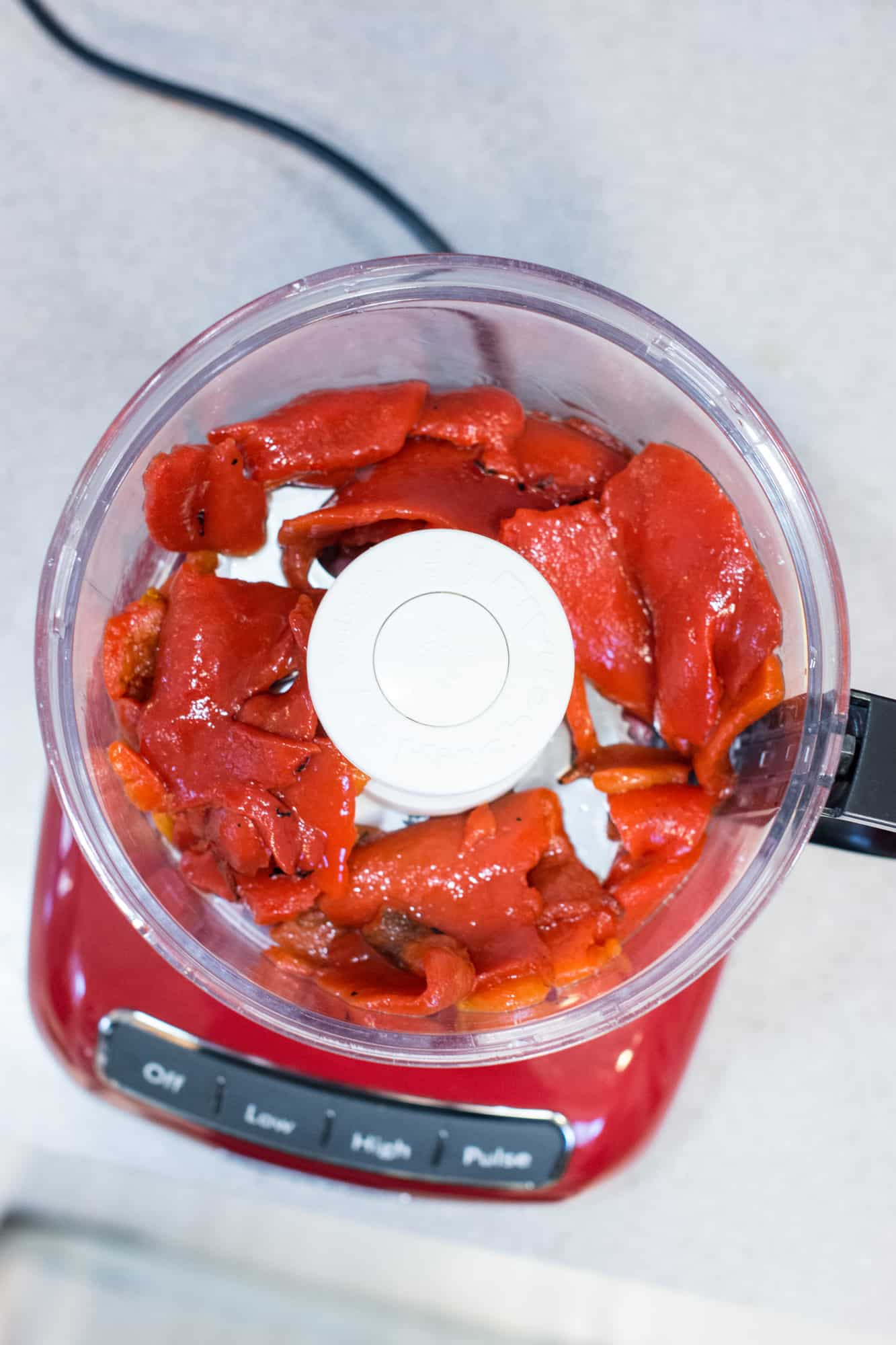 roasted red peppers in a food processor