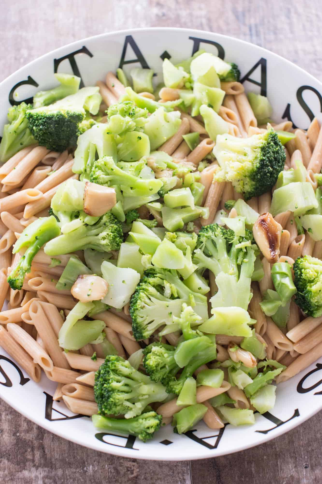 garlic and broccoli added to the pasta