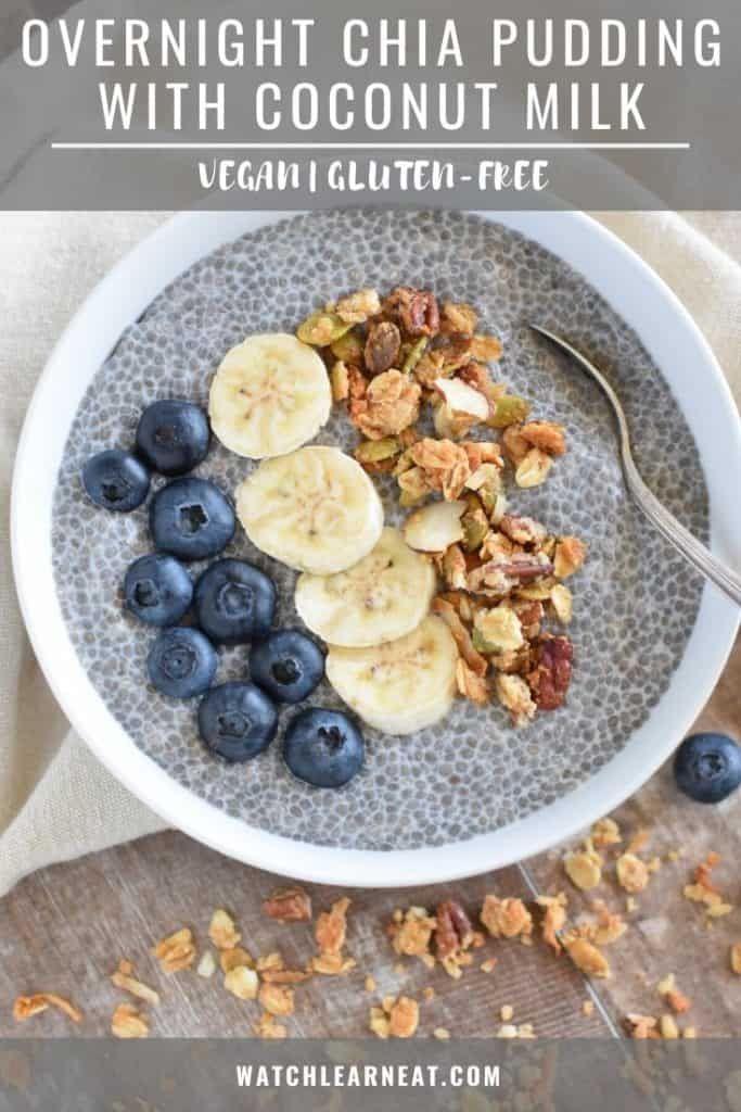 pin showing chia pudding in white bowl with toppings and a spoon in it