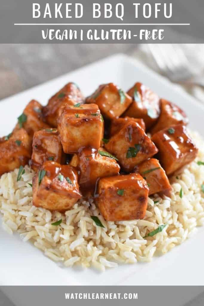 front view of tofu over rice on a white plate