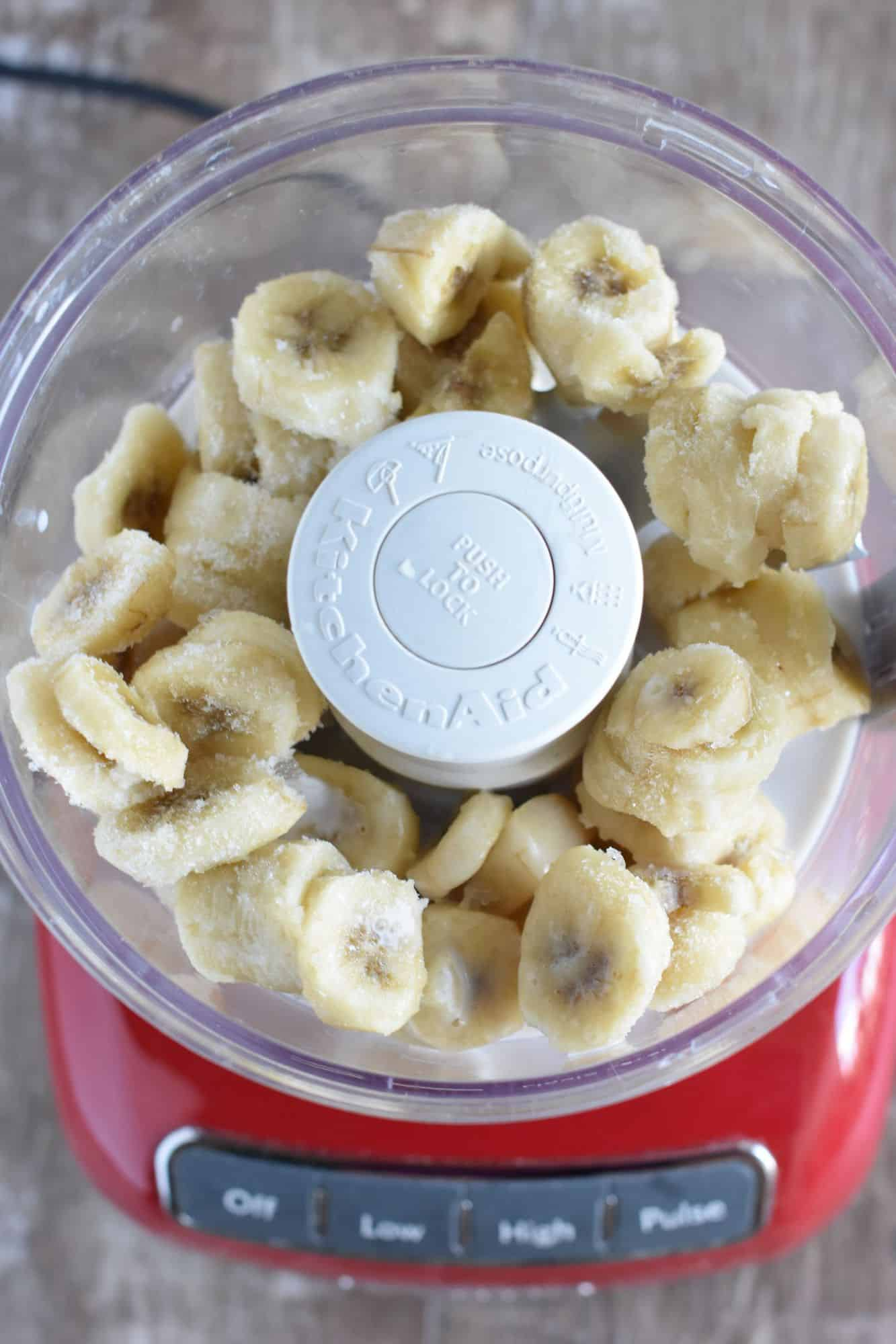 bananas and milk added to food processor