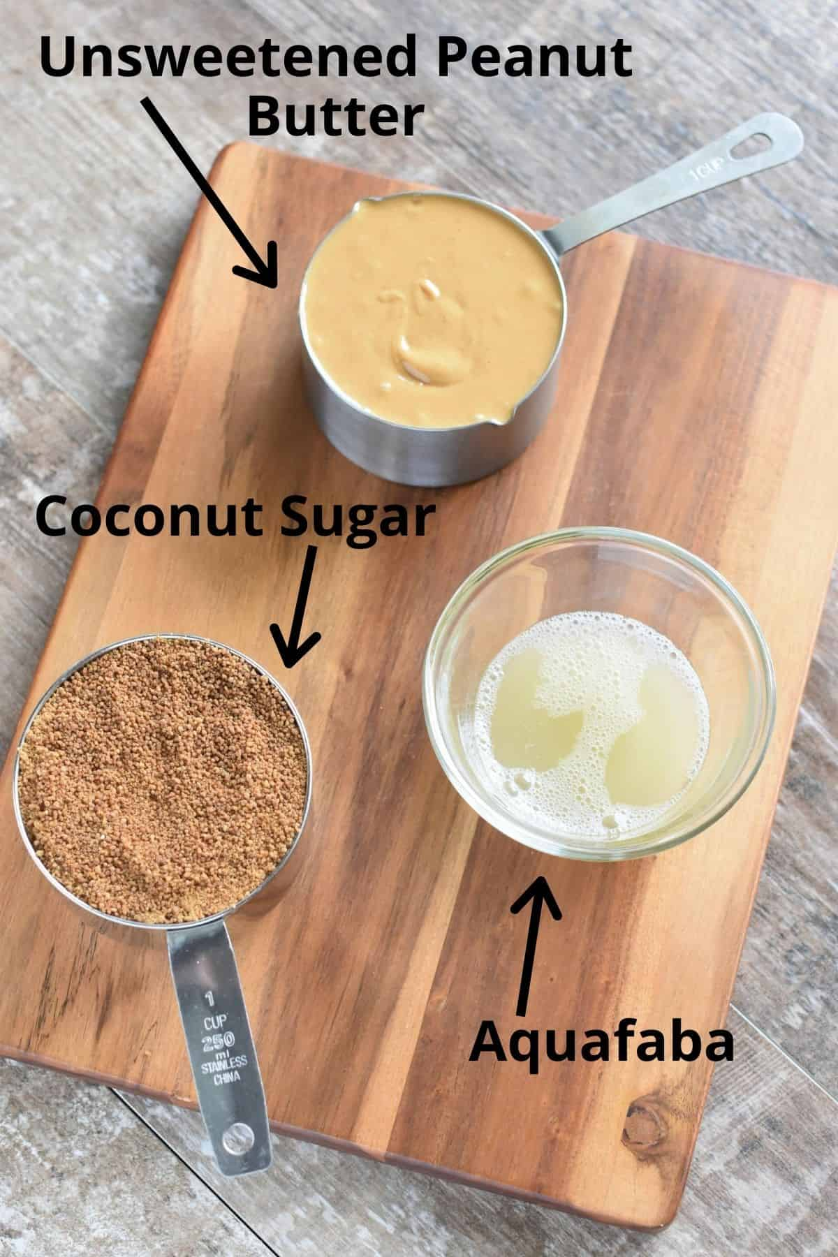 ingredients on a wooden board and labeled