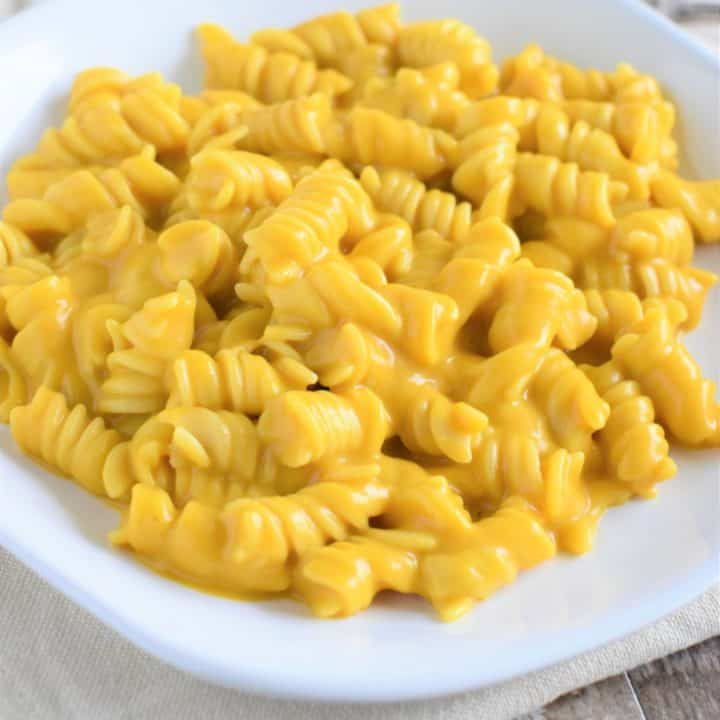 close-up of pumpkin mac and cheese on a white plate