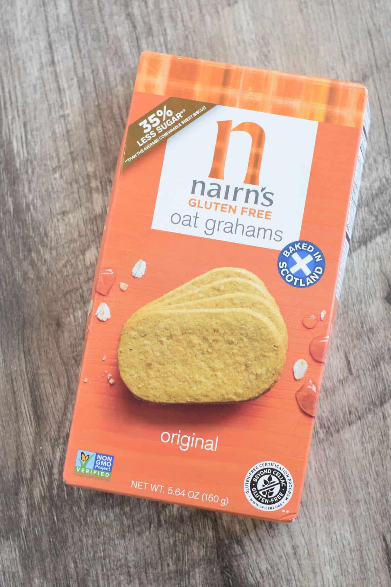 front of box of Nairn's gluten-free oat grahams