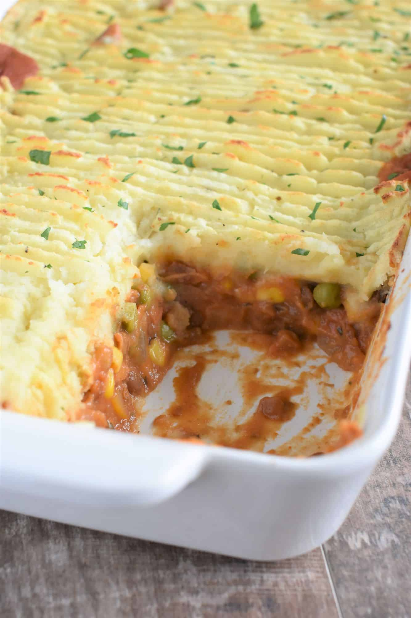 casserole with slice missing