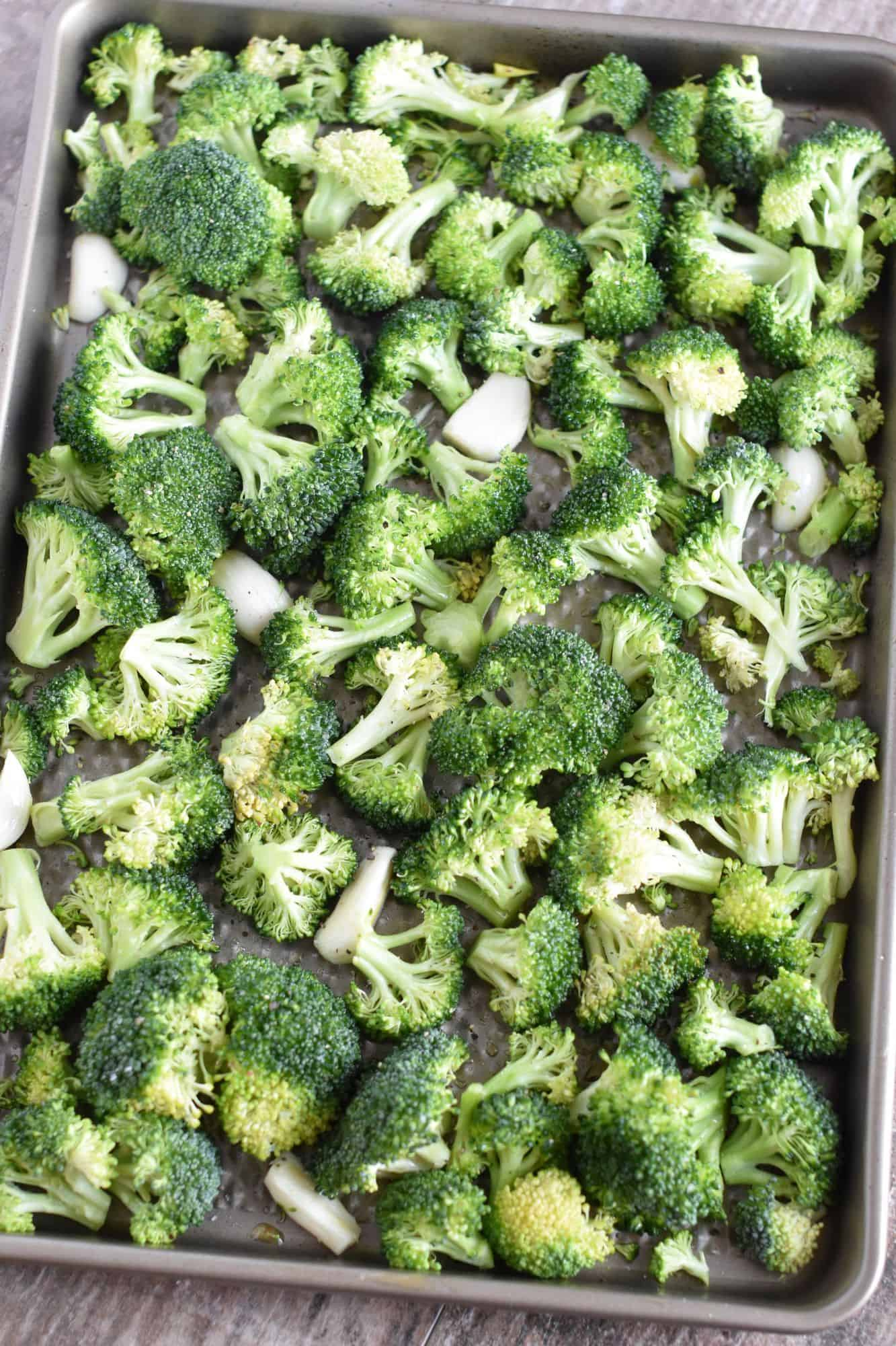 broccoli and garlic with olive oil, salt and pepper