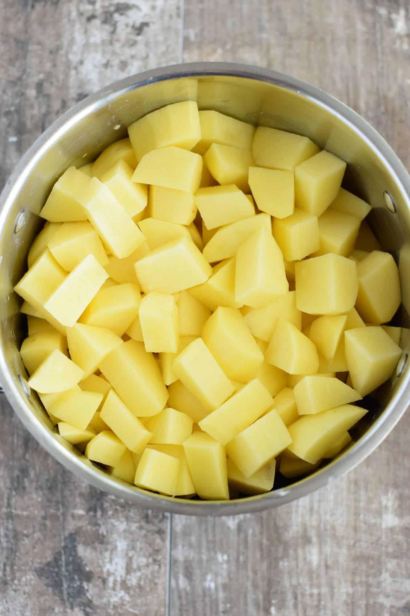 cubed potatoes in a pot