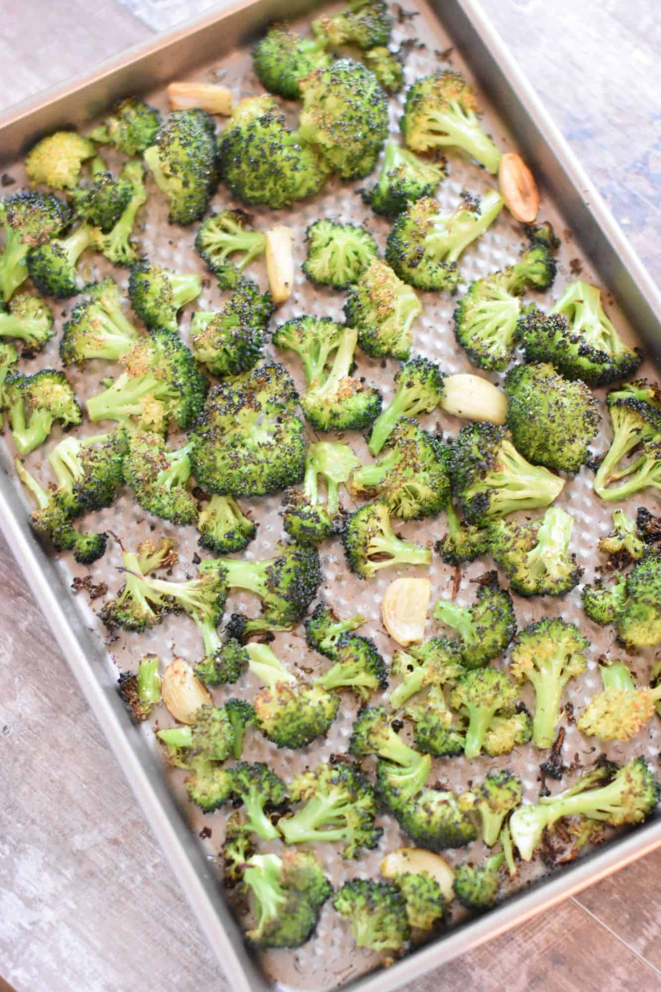 broccoli and garlic on baking sheet after cooking