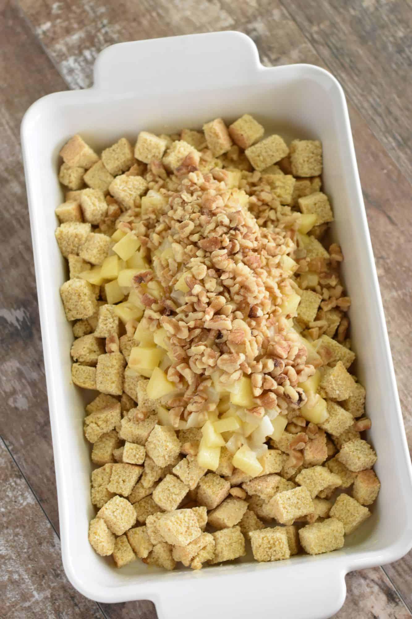 walnuts added to casserole dish