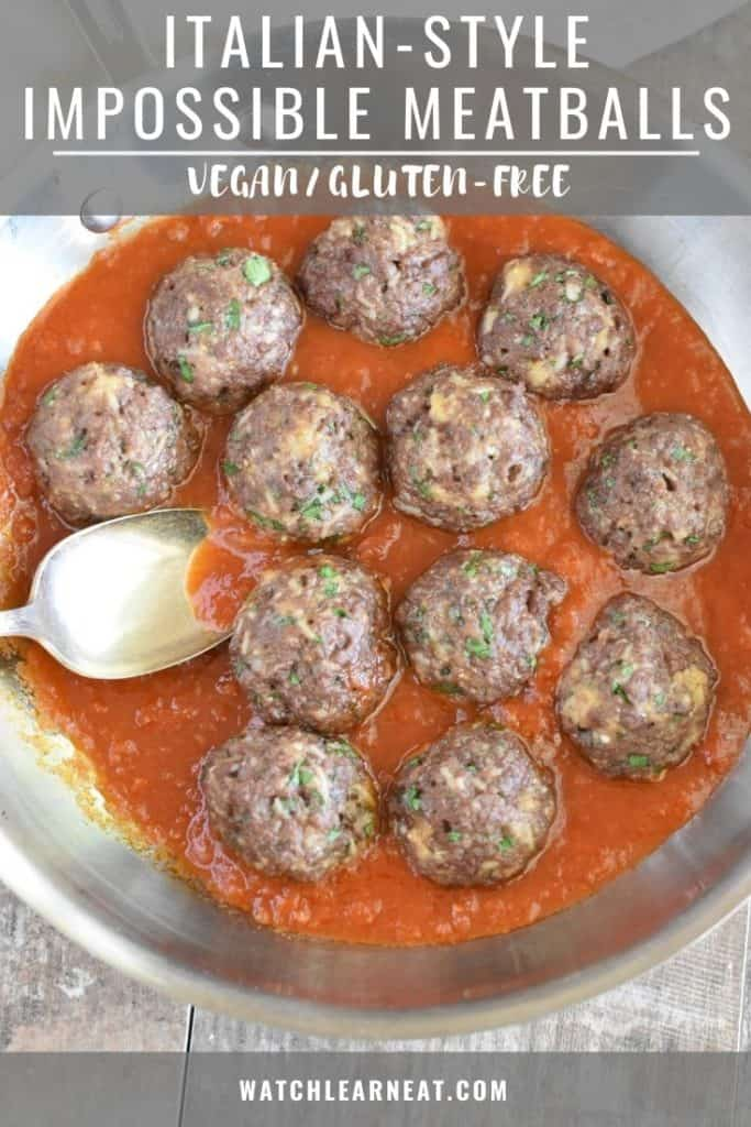 pin showing skillet of meatballs in sauce with spoon getting some sauce