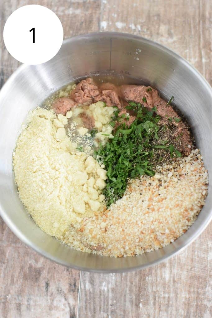 ingredients for vegan meatballs in mixing bowl before being mixed