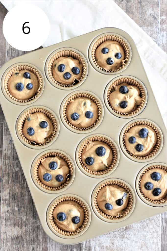 batter in baking cups in muffin tin