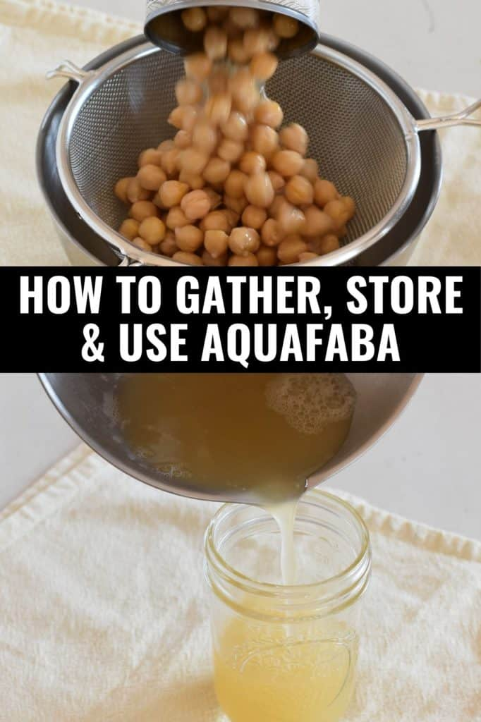 top photo showing chickpeas going from can to mesh strainer and bottom photo showing aquafaba pouring into mason jar