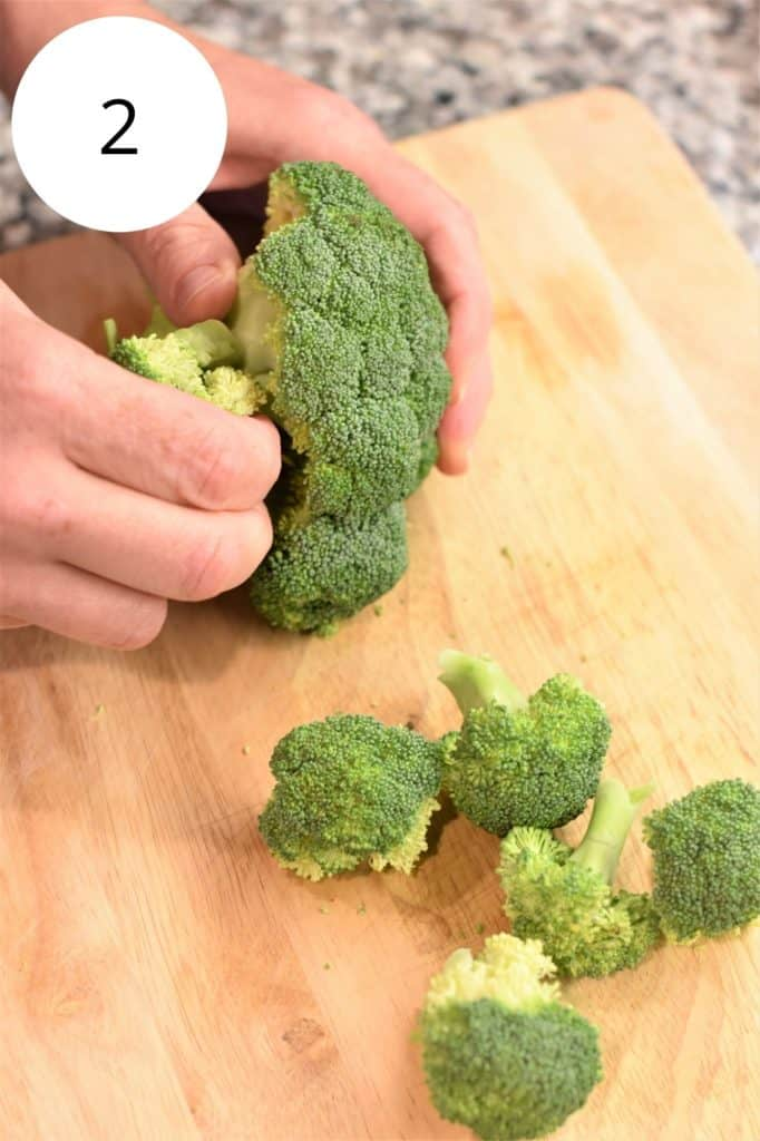 pulling florets off broccoli stalk