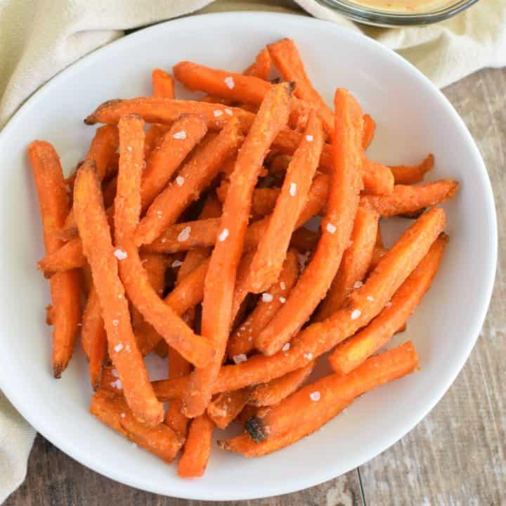 sweet potato fries on white plate