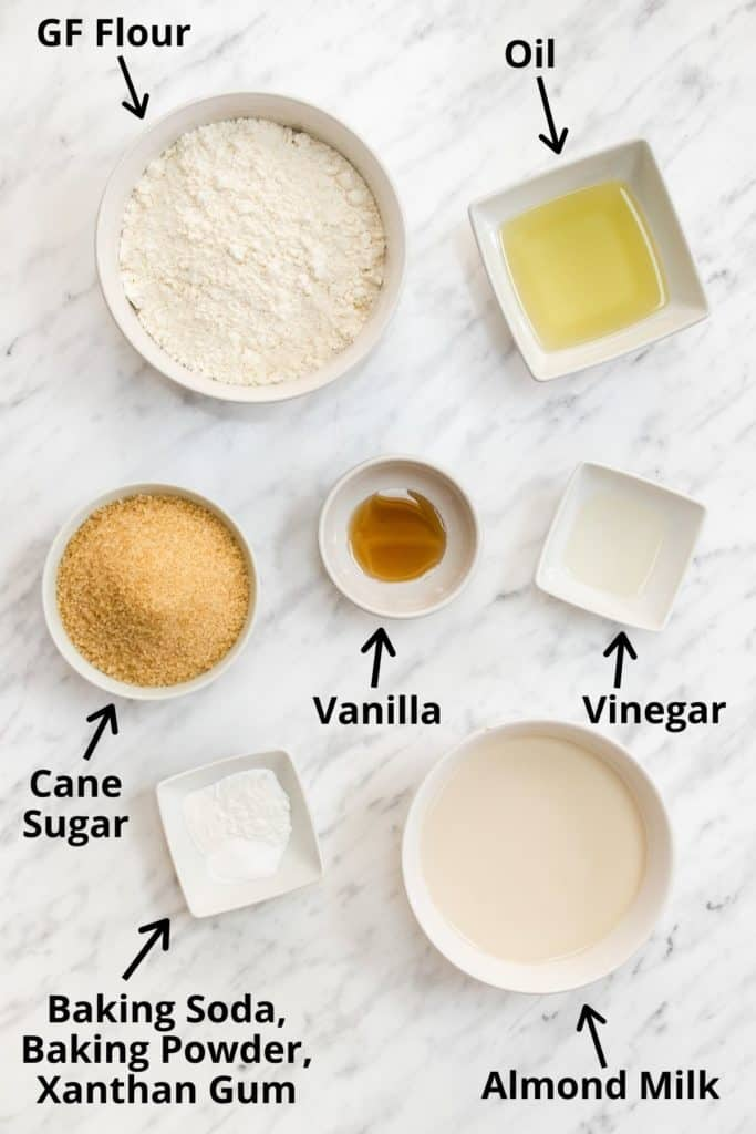 ingredients for cupcakes with text labels