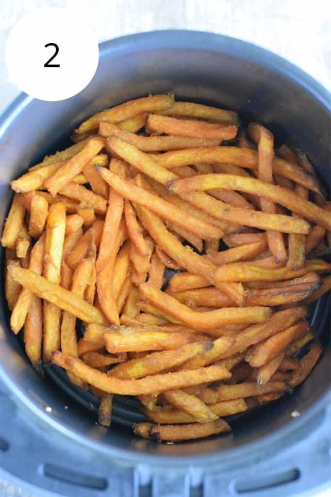 sweet potato fries in air fryer after cooking