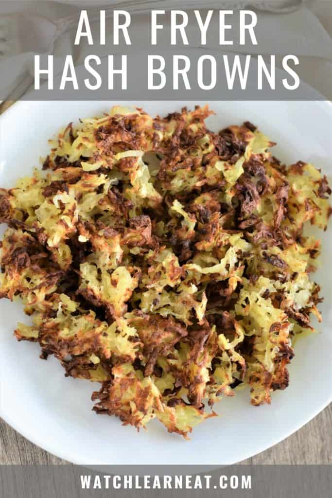 pin showing overhead of hash browns on white plate with text overlay