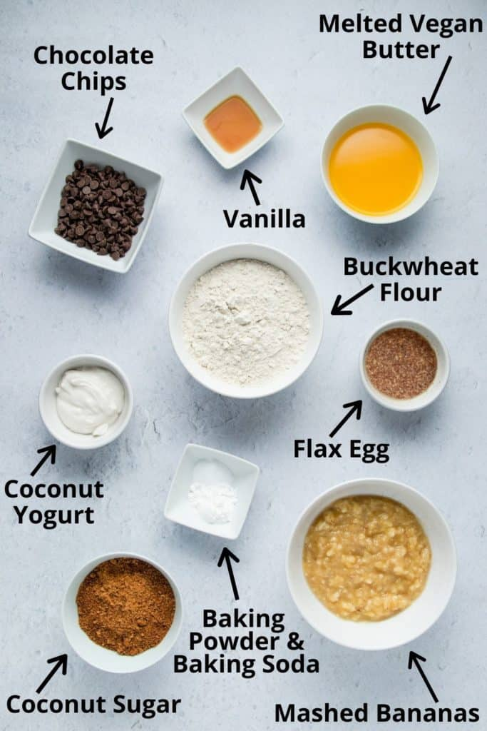 ingredients for buckwheat banana bread with labels
