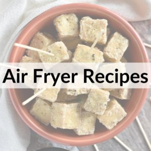 image of air fryer salt and pepper tofu covered with a title overlay