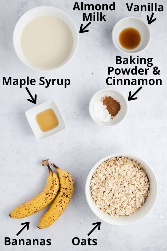 ingredients for banana oat pancakes with text labels
