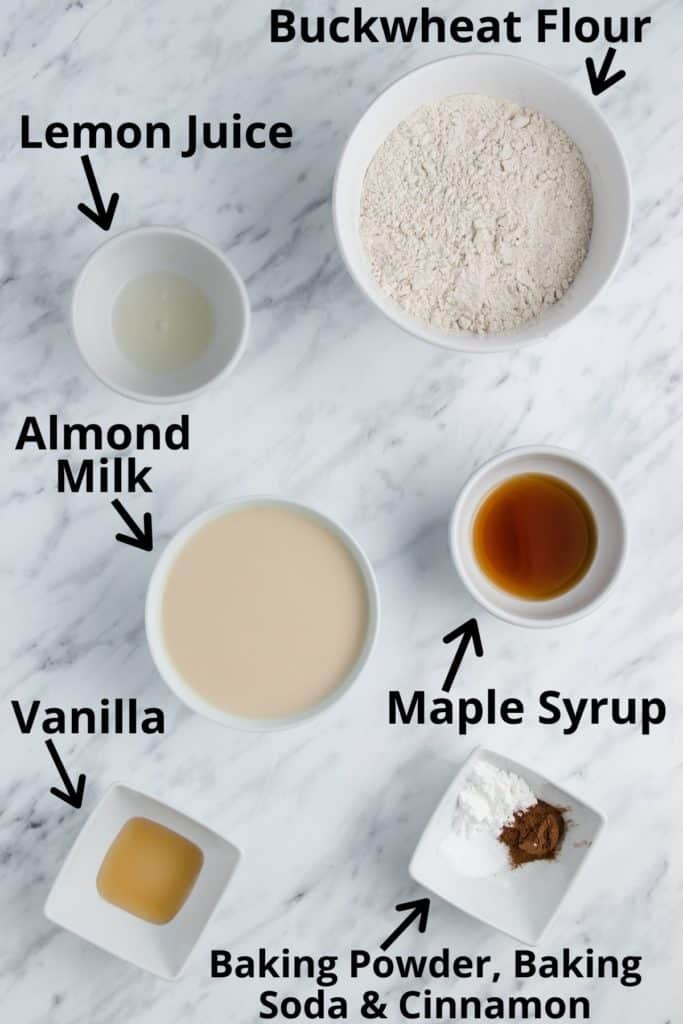 ingredients for buckwheat pancakes with text labels