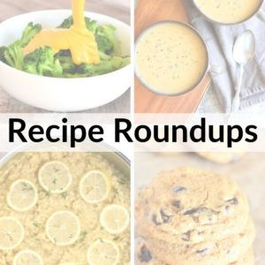 collage of 4 recipe photos with title text overlay Recipe Roundups