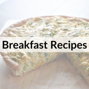 photo of vegan quiche with text title overlay Breakfast Recipes