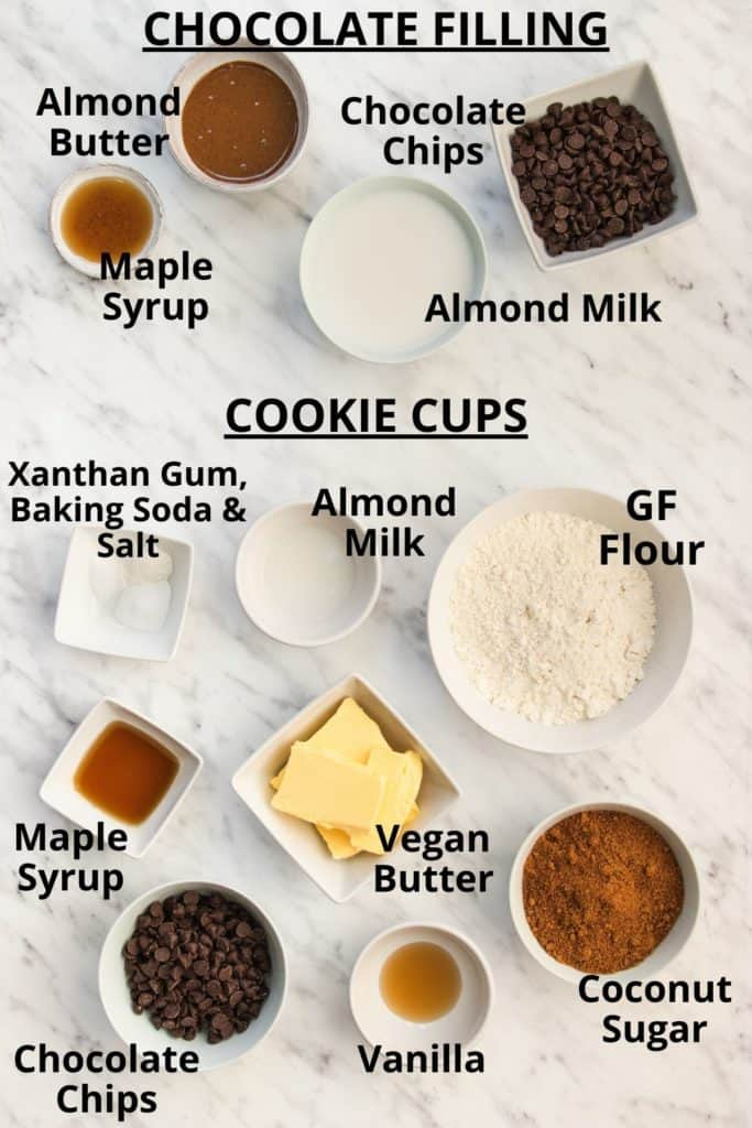 ingredients for chocolate chip cookie cups with text labels