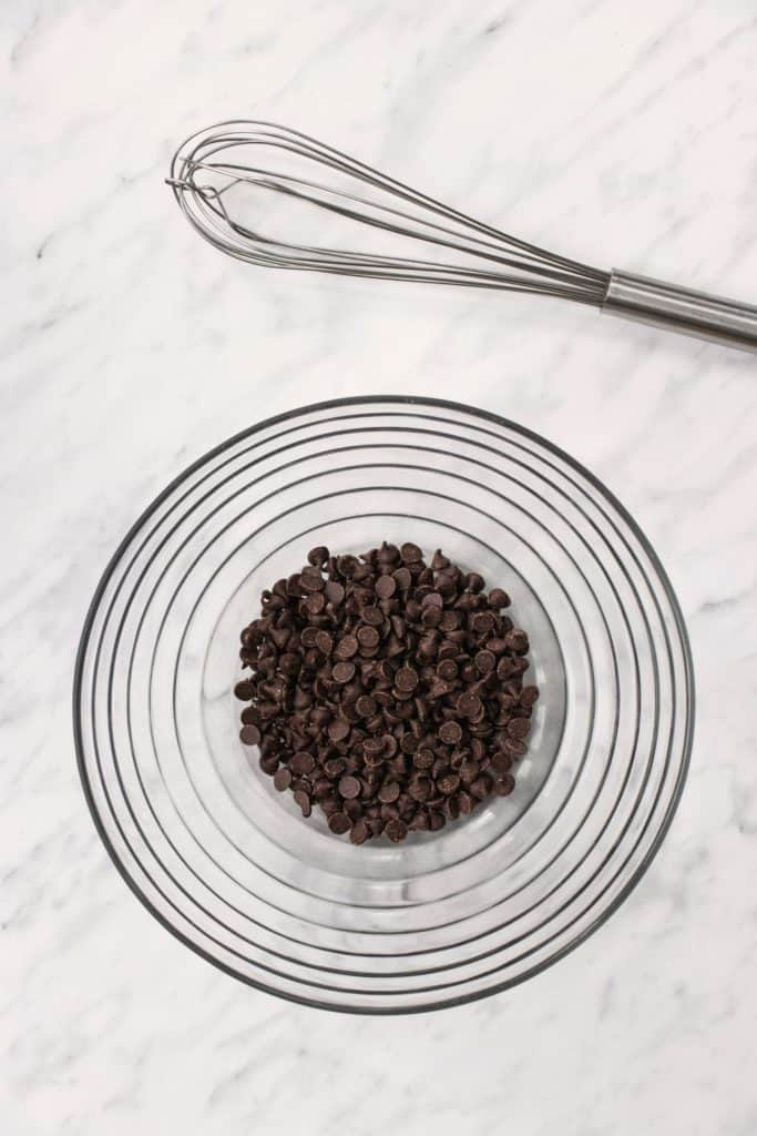 chocolate chips in a mixing bowl