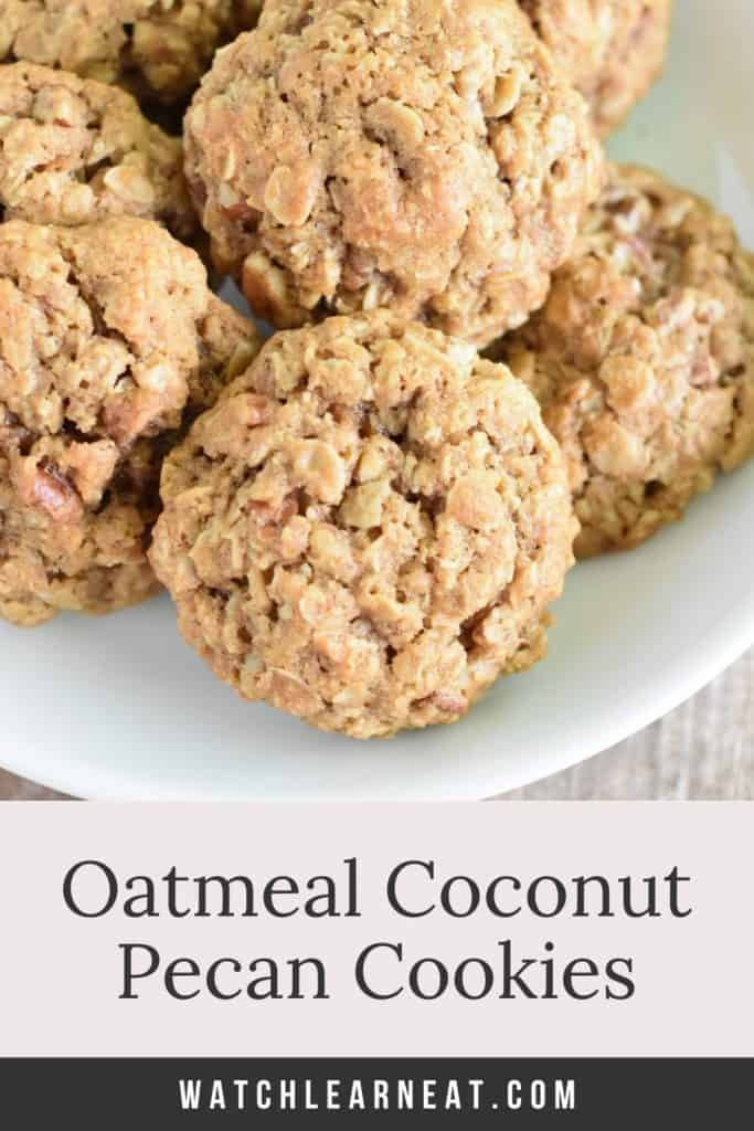 pin showing oatmeal cookies on a white plate with text title overlay