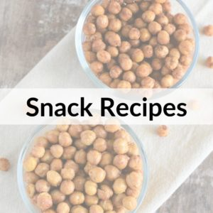 photo of air fryer chickpeas with title text overlay Snack Recipes