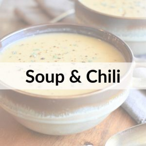 photo of white bean soup with text title overlay Soup & Chili