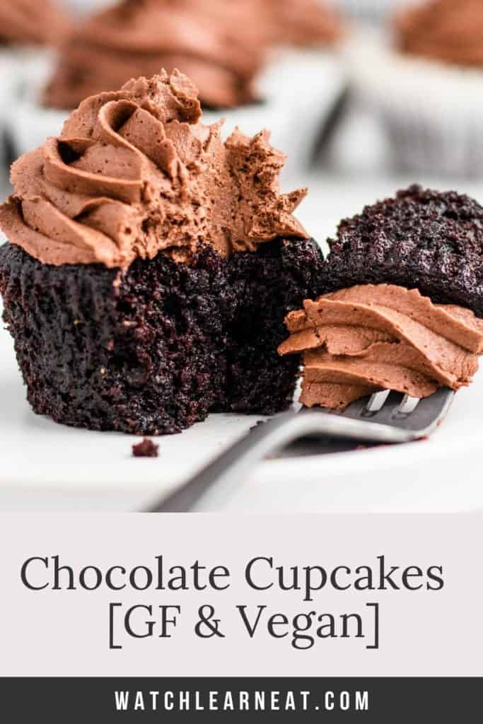pin showing cupcake with piece taken out on a fork next to it and text title overlay