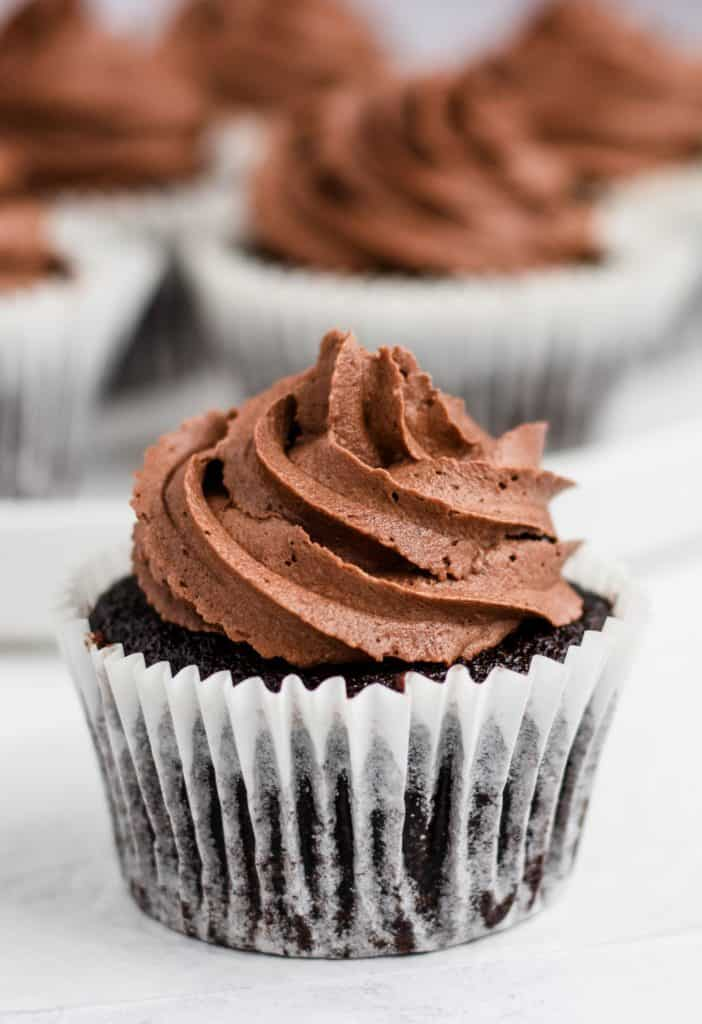 close-up of cupcake with others blurred out behind it