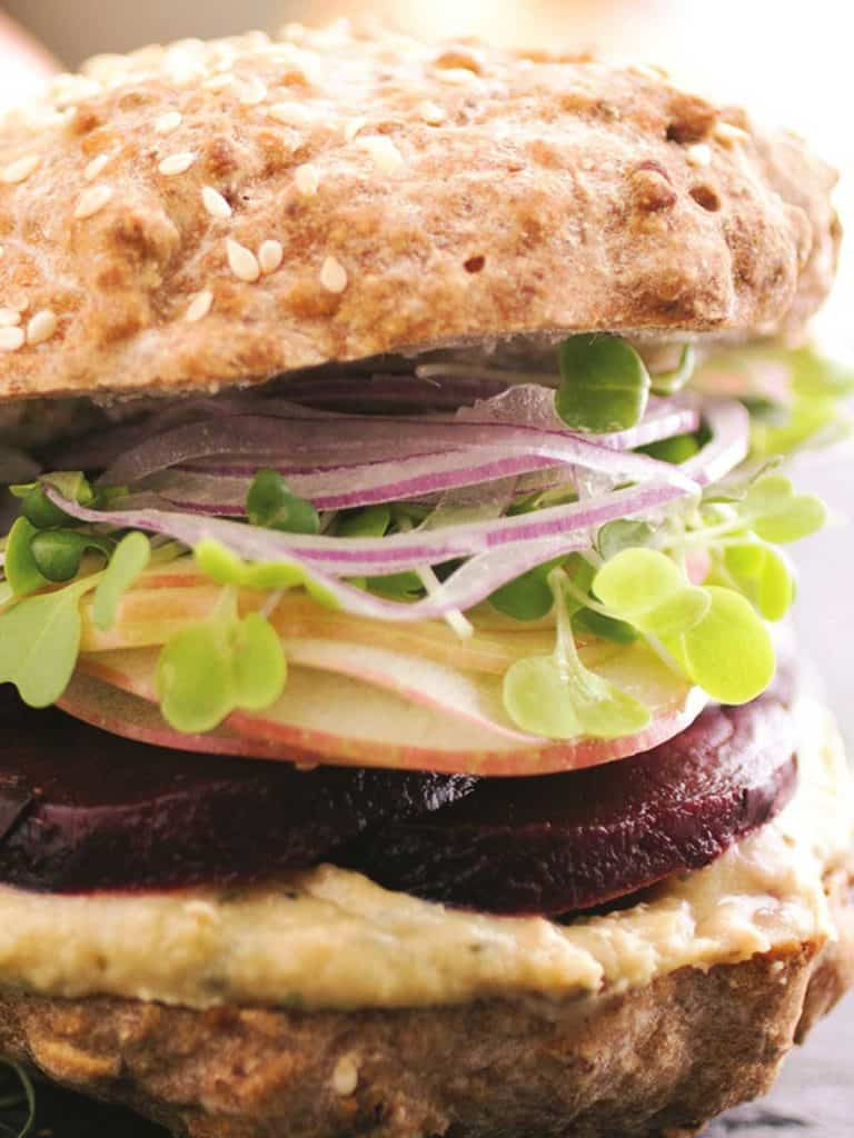 close-up of roasted beet sandwich