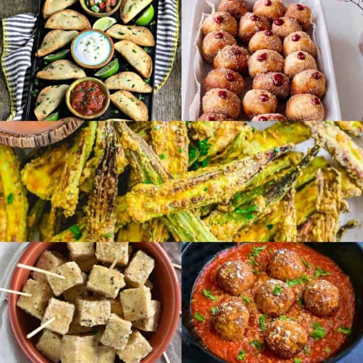 collage of 5 of the vegan air fryer recipes