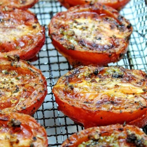 air fryer roasted tomatoes on a cooling rack