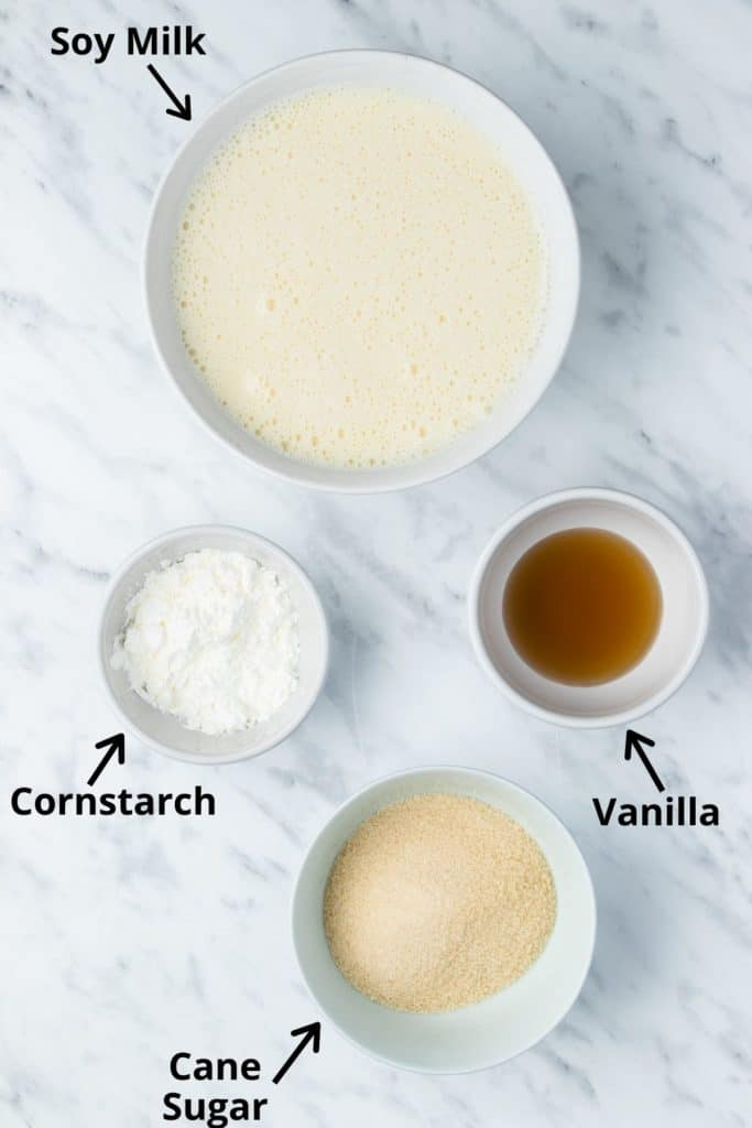 pudding ingredients with text labels