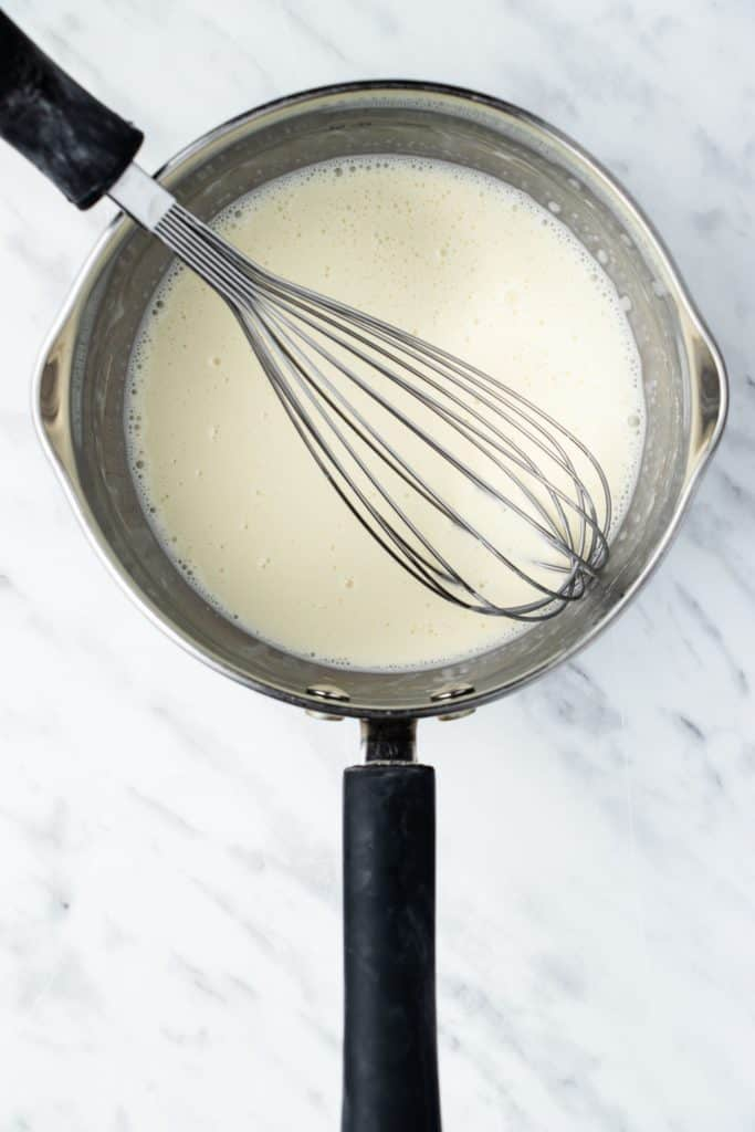 cornstarch and soy milk whisked together in a saucepan